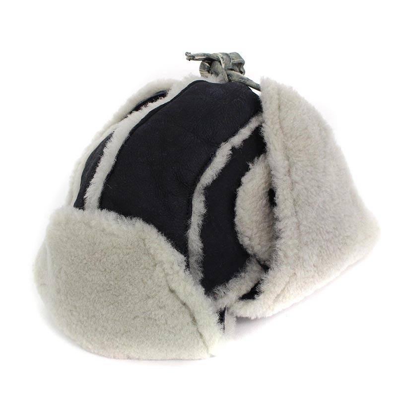 ガブリエレパジーニ/GABRIELE PASINI 【G7ALCE GP7600】シープスキンムートンフライトキャップ帽子(S/ブラック)【BS99】【小物】【105081】【中古】bb51#rinkan*S
