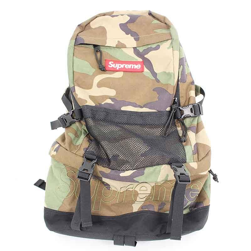 シュプリーム/SUPREME 【15AW】【Contour Backpack】メッシュ切り替えボックスロゴナイロンバックパック(グリーン調)【SB01】【小物】【524081】【中古】【P】bb154#rinkan*B