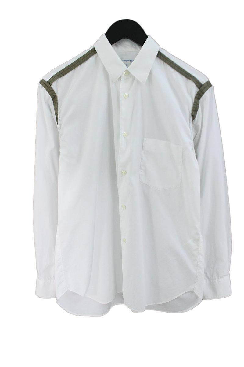コムデギャルソンシャツ/COMME des GARCONS SHIRT 【S23009】ショルダーライン長袖シャツ(XS/ホワイト×グリーン)【BS99】【メンズ】【107081】【中古】bb182#rinkan*B