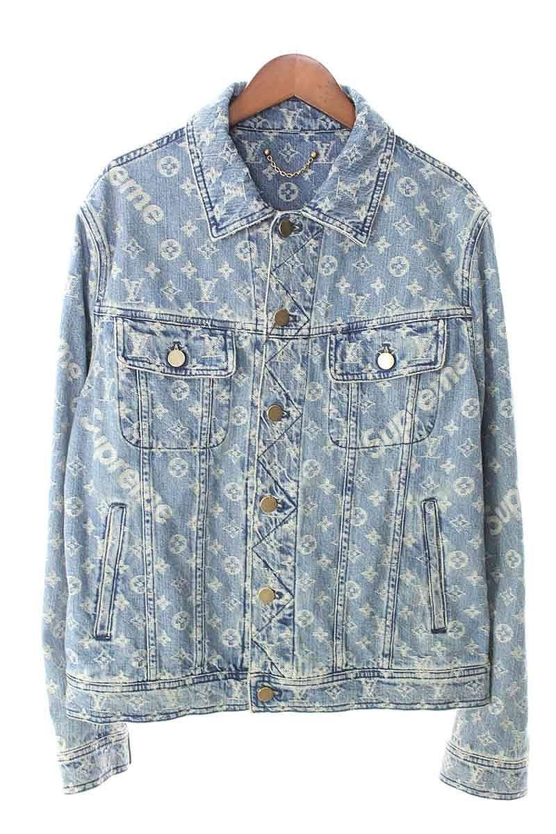 758e31a20 シュプリーム /SUPREME X Louis Vuitton /LOUISVUITTON X LOUIS VUITTON jacquard  denim jacket (46/ indigo) bb154#rinkan*S