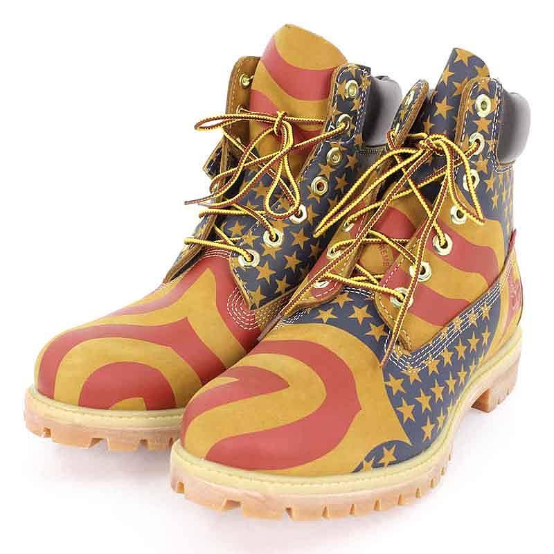 シュプリーム/SUPREME ×ティンバーランド/Timberland 【17AW】【Star and Stripes 6inch Premium Waterproof Boot】【TB0A1PHF】星条旗プリントブーツ(27cm/ブラウン×レッド×ブルー)【SB01】【メンズ】【小物】【105081】【中古】bb154#rinkan*S