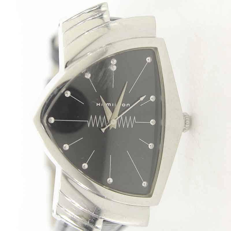 ハミルトン/HAMILTON 【H244110】ヴェンチュラクォーツ腕時計(ブラック×シルバー)【BS99】【小物】【106081】【中古】bb229#rinkan*B