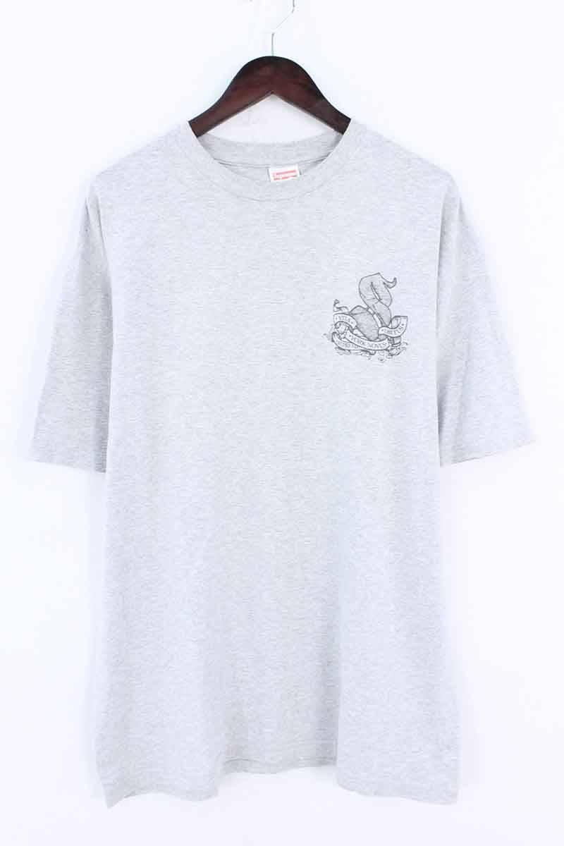 シュプリーム/SUPREME 【2003】【Vita Obitus York Novus Tee】バックロゴプリントTシャツ(L/グレー)【HJ12】【メンズ】【016081】【中古】bb127#rinkan*B