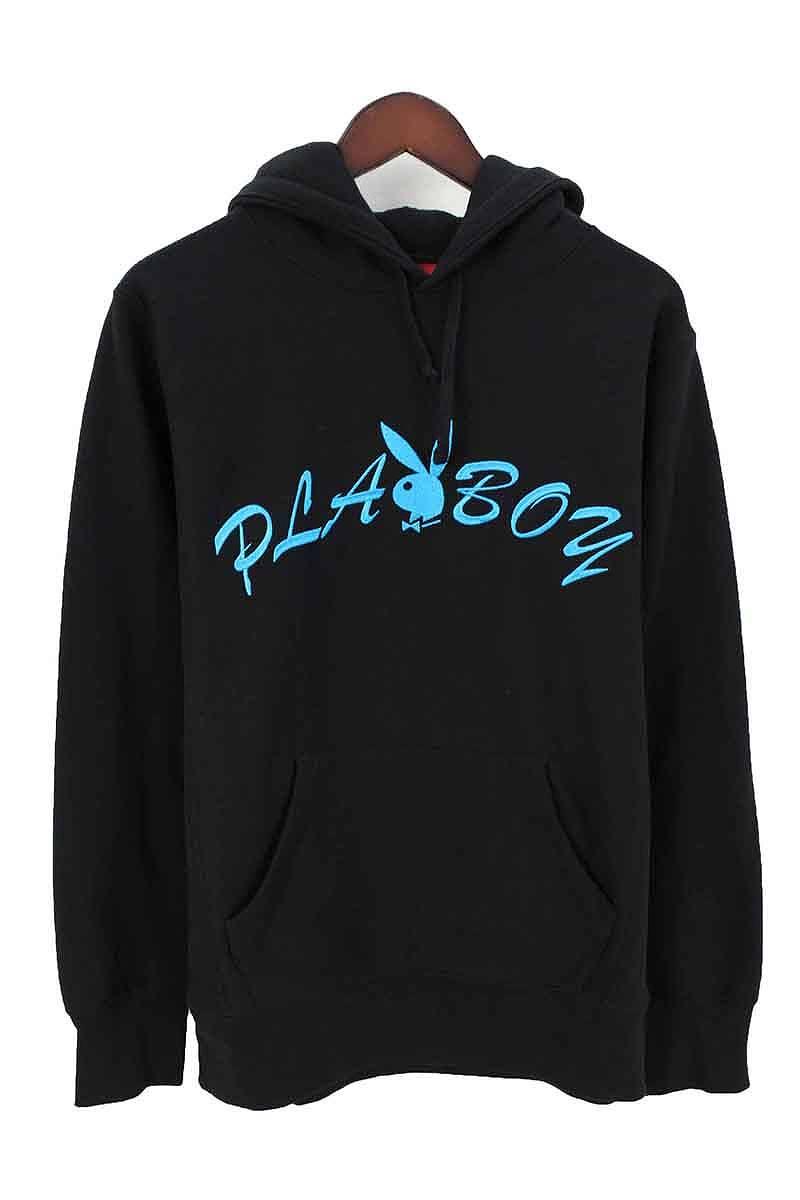 シュプリーム/SUPREME ×プレイボーイ 【17SS】【Hooded Sweatshirt】×PLAYBOY フロントロゴ刺繍プルオーバーパーカー(S/ブラック×ブルー)【OM10】【メンズ】【515081】【中古】【P】bb177#rinkan*A