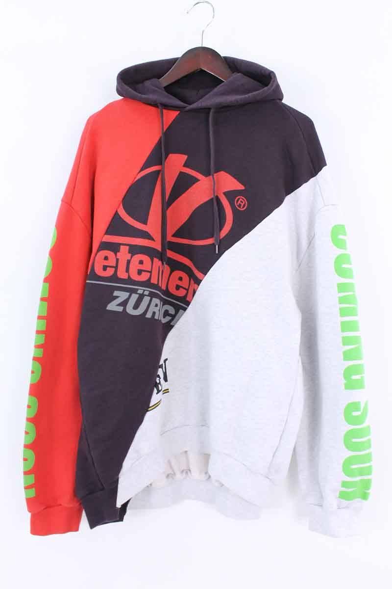 ヴェトモン/VETEMENTS【18SS】【Deconstructed hooded hooded sweatshirt】再構築デザインプルオーバーパーカー(M/グレー×パープル調×レッド)【HJ12】【メンズ】【016081】【中古】【P】bb33#rinkan*B, 布の店ブーケ:870d0e80 --- sharoshka.org