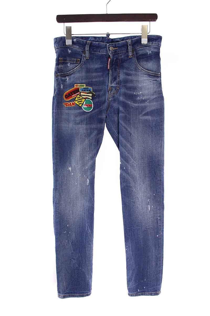 ディースクエアード/DSQUARED2 ピンズワッペン装飾デニムパンツ(42/インディゴ)【BS99】【メンズ】【106081】【中古】bb131#rinkan*B