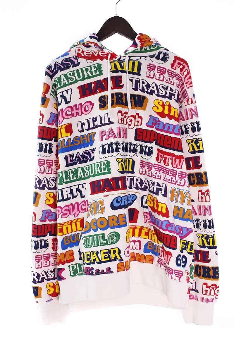 シュプリーム/SUPREME ×ヒステリックグラマー/HYSTERIC GLAMOUR 【17AW】【Text Hooded Sweatshirt】テキストフーデッドパーカー(XL/ホワイト×レッド×イエロー)【SB01】【メンズ】【615081】【中古】bb81#rinkan*B