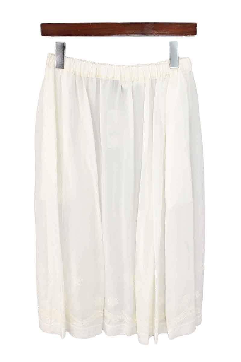 トリココムデギャルソン/tricot COMME des GARCONS 【08SS】【TA-S021】AD2007キュプラ裾刺繍デザインスカート(ホワイト)【SK03】【レディース】【106081】【中古】bb51#rinkan*A