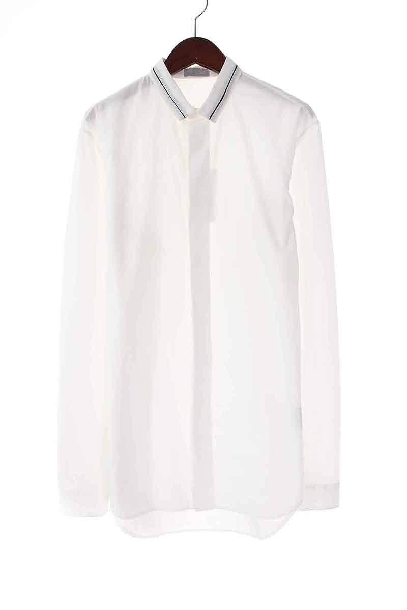 ディオールオム/Dior HOMME 【10SS】カラーライン切替比翼長袖シャツ(37/ホワイト)【SB01】【メンズ】【106081】【中古】bb14#rinkan*B
