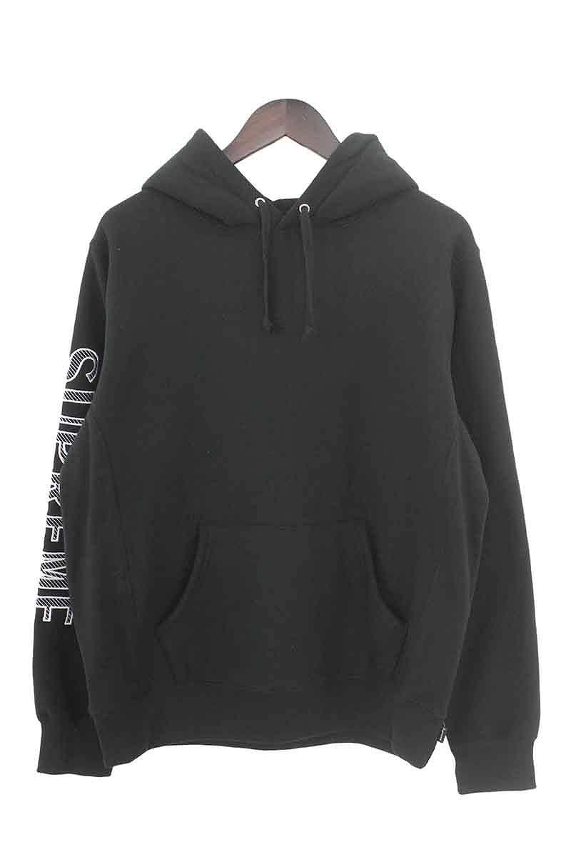 シュプリーム/SUPREME 【18SS】【Sleeve Embroidery Hooded Sweatshirt】アームロゴ刺繍パーカー(S/ブラック)【SB01】【メンズ】【615081】【中古】bb229#rinkan*S