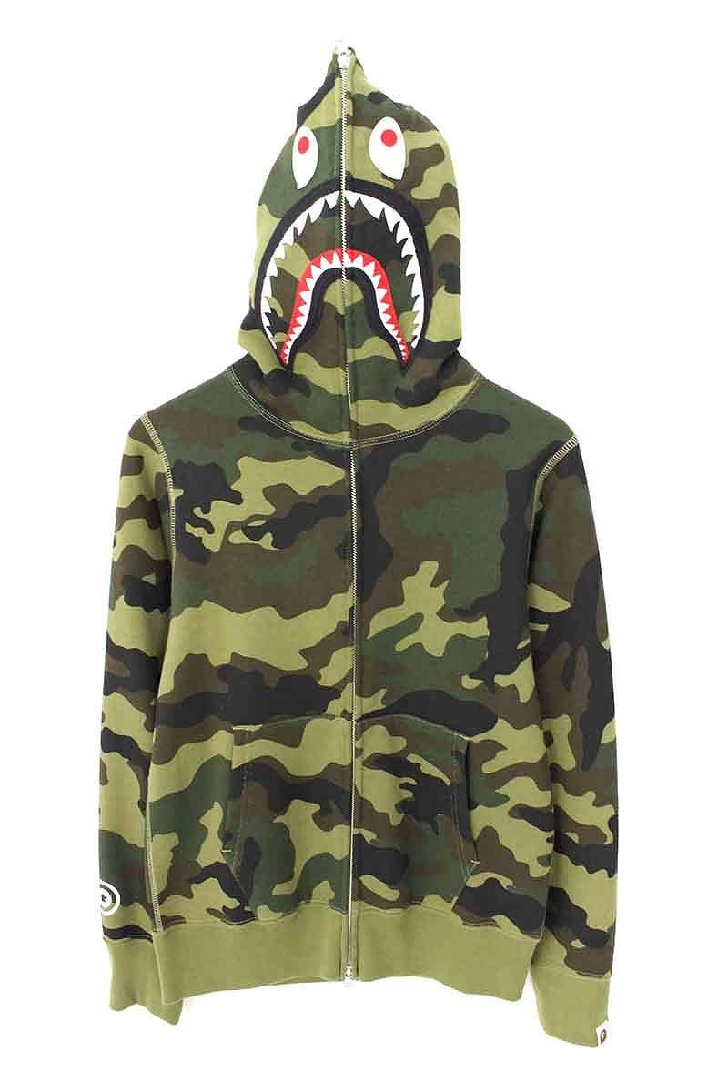 アベイシングエイプ/A BATHING APE 【18SS】【1ST Camo Shark Zip-Up Hoodie】ファーストカモジップアップシャークパーカー(S/グリーン×カーキ)【HJ12】【メンズ】【615081】【中古】bb13#rinkan*A