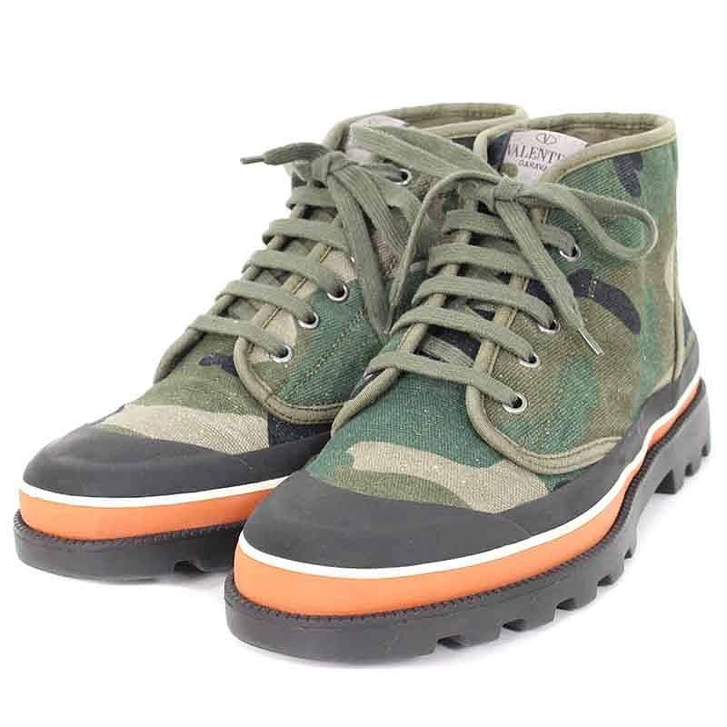 ヴァレンティノガラヴァーニ/Valentino Garavani 【Camouflage Ankle Boots】カモフラ柄キャンバスハイカットスニーカー(41/カーキ調×ブラック)【BS99】【メンズ】【小物】【225081】【中古】bb30#rinkan*A