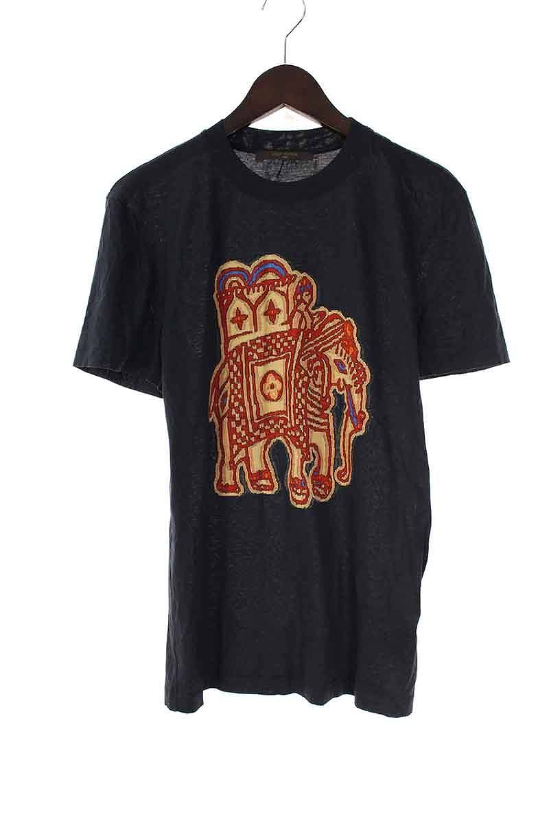 ルイヴィトン/LOUISVUITTON 【15SS】エレファントプリントTシャツ(S/ブラック)【SB01】【メンズ】【715081】【中古】bb51#rinkan*B