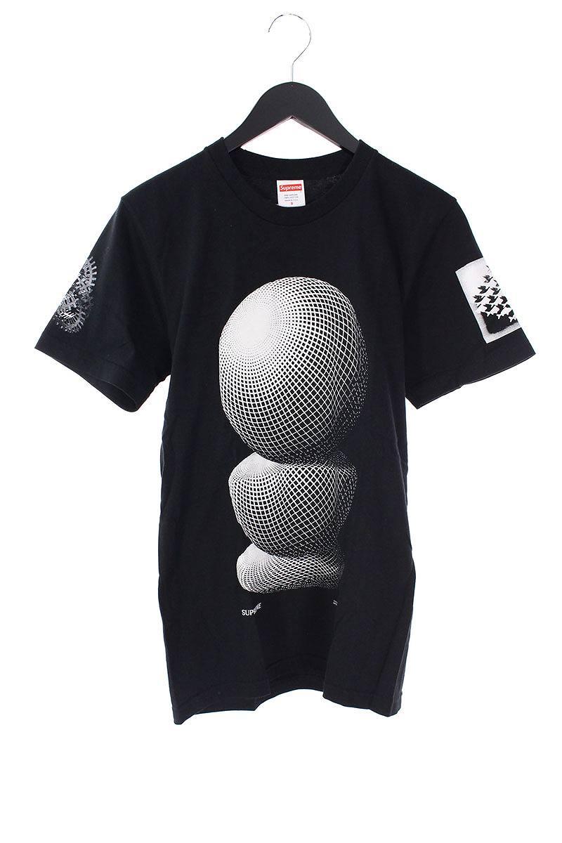 シュプリーム/SUPREME ×マウリッツエッシャー 【17SS】【M.C. Escher Three Spheres Tee】球体プリントTシャツ(S/ブラック×ホワイト)【FK04】【メンズ】【325081】【中古】bb81#rinkan*B