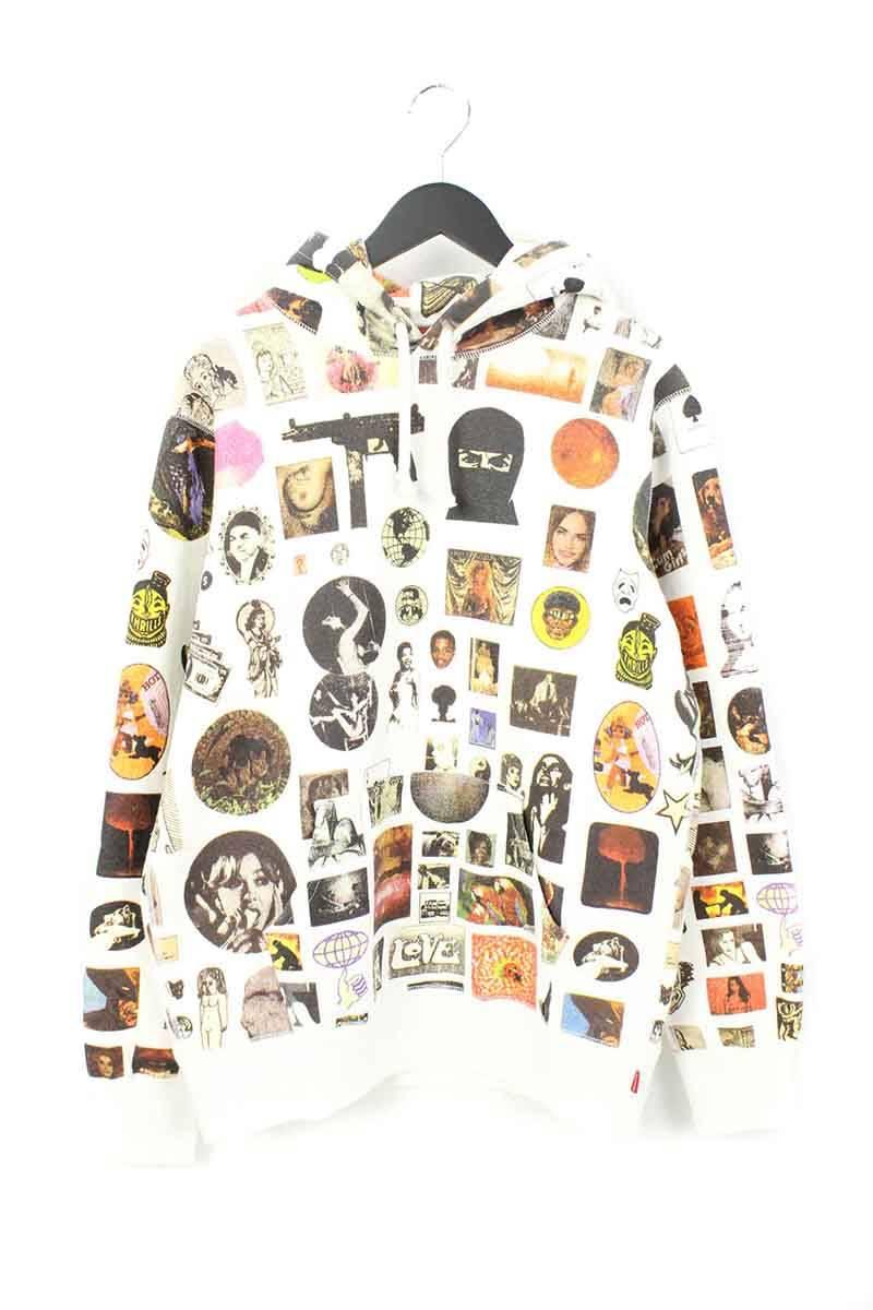 シュプリーム/SUPREME 【17SS】【Thrills Hooded Sweatshirt】マルチプリントプルオーバーパーカー(M/ホワイト)【OM10】【メンズ】【106081】【中古】bb219#rinkan*A