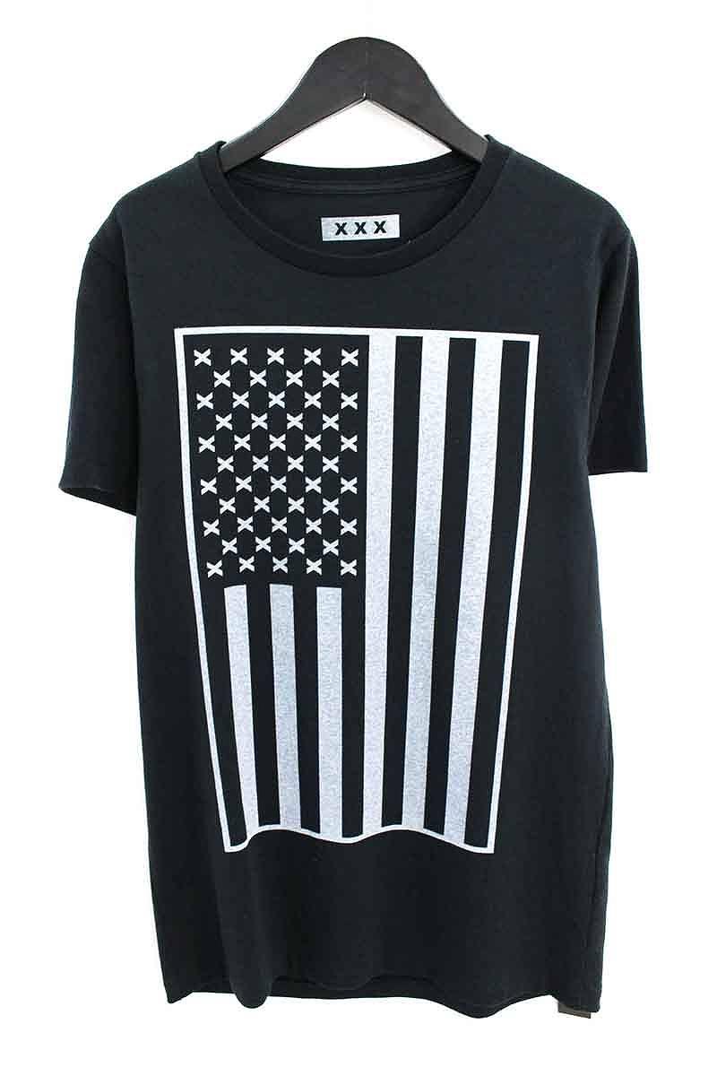 ゴッドセレクショントリプルエックス/GOD SELECTION XXX 星条旗プリントTシャツ(S/ブラック)【SB01】【メンズ】【106081】【中古】bb152#rinkan*S