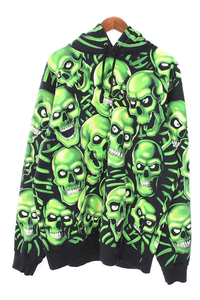 シュプリーム/SUPREME 【18SS】【Skull Pile Hooded Sweatshirt】スカル総柄リフレクトパーカー(L/ブラック×グリーン)【SB01】【メンズ】【925081】【中古】bb87#rinkan*A