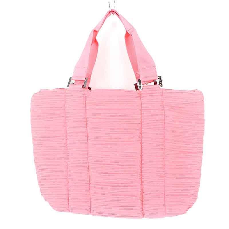 イッセイミヤケプリーツプリーズ/ISSEY MIYAKE PLEATS PLEASE 【quilting pleats bag】プリーツデザインハンドバッグ(ピンク)【BS99】【小物】【925081】【中古】bb33#rinkan*A