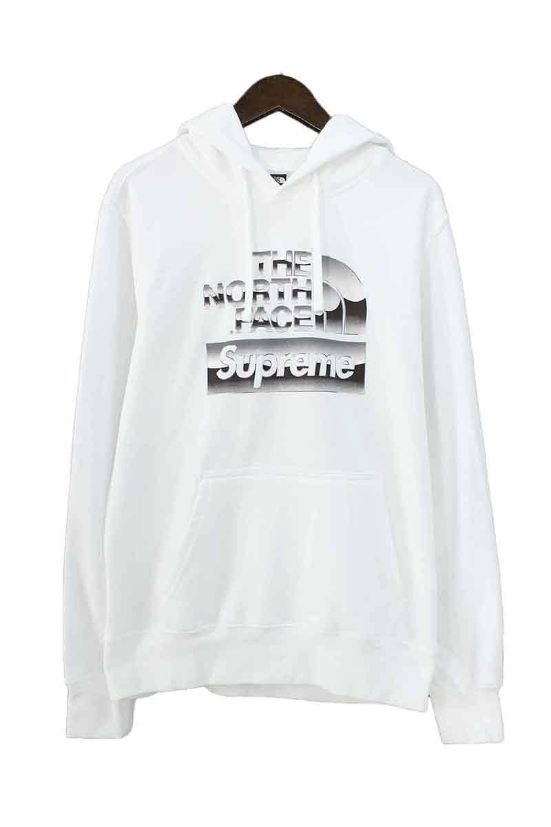 シュプリーム/SUPREME ×ノースフェイス/THE NORTH FACE 【18SS】【Metallic Logo Hooded Sweatshirt】メタリックロゴプルオーバーパーカー(S/ホワイト)【SB01】【メンズ】【925081】【中古】bb226#rinkan*S