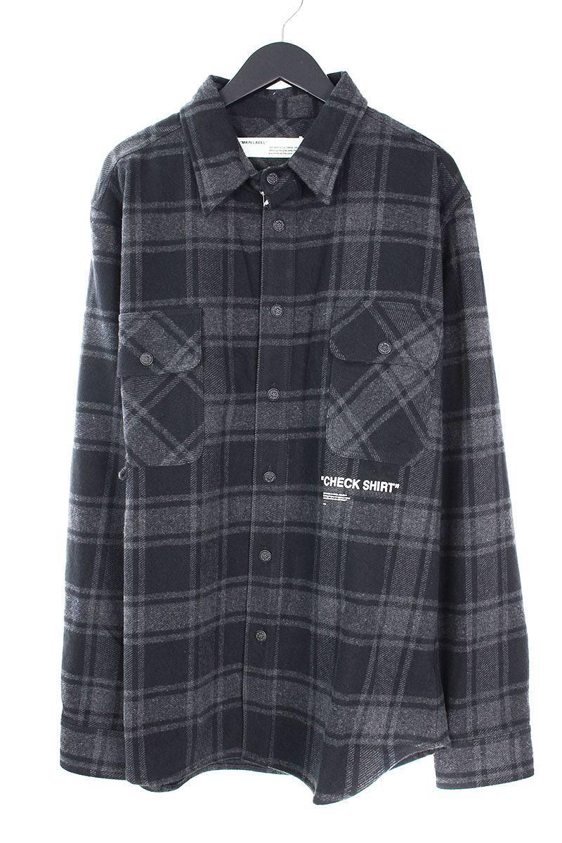 オフホワイト/OFF-WHITE 【18AW】【QUOTE FLANNEL SHIRT】オーバーサイズフランネルチェックシャツ(XL/ブラック×グレー)【SB01】【メンズ】【306081】【新古品】bb20#rinkan*N