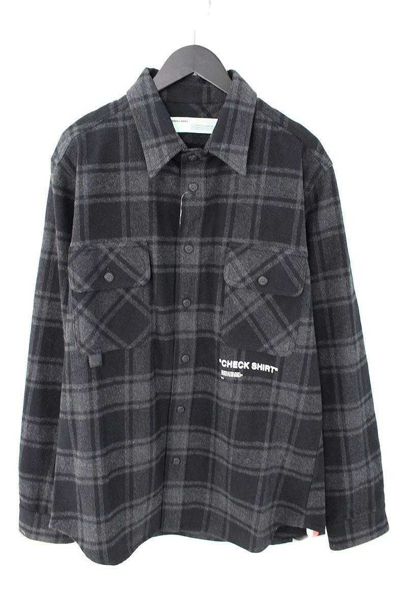 オフホワイト/OFF-WHITE 【18AW】【QUOTE FLANNEL SHIRT】オーバーサイズフランネルチェックシャツ(L/ブラック×グレー)【OM10】【メンズ】【306081】【新古品】bb20#rinkan*N