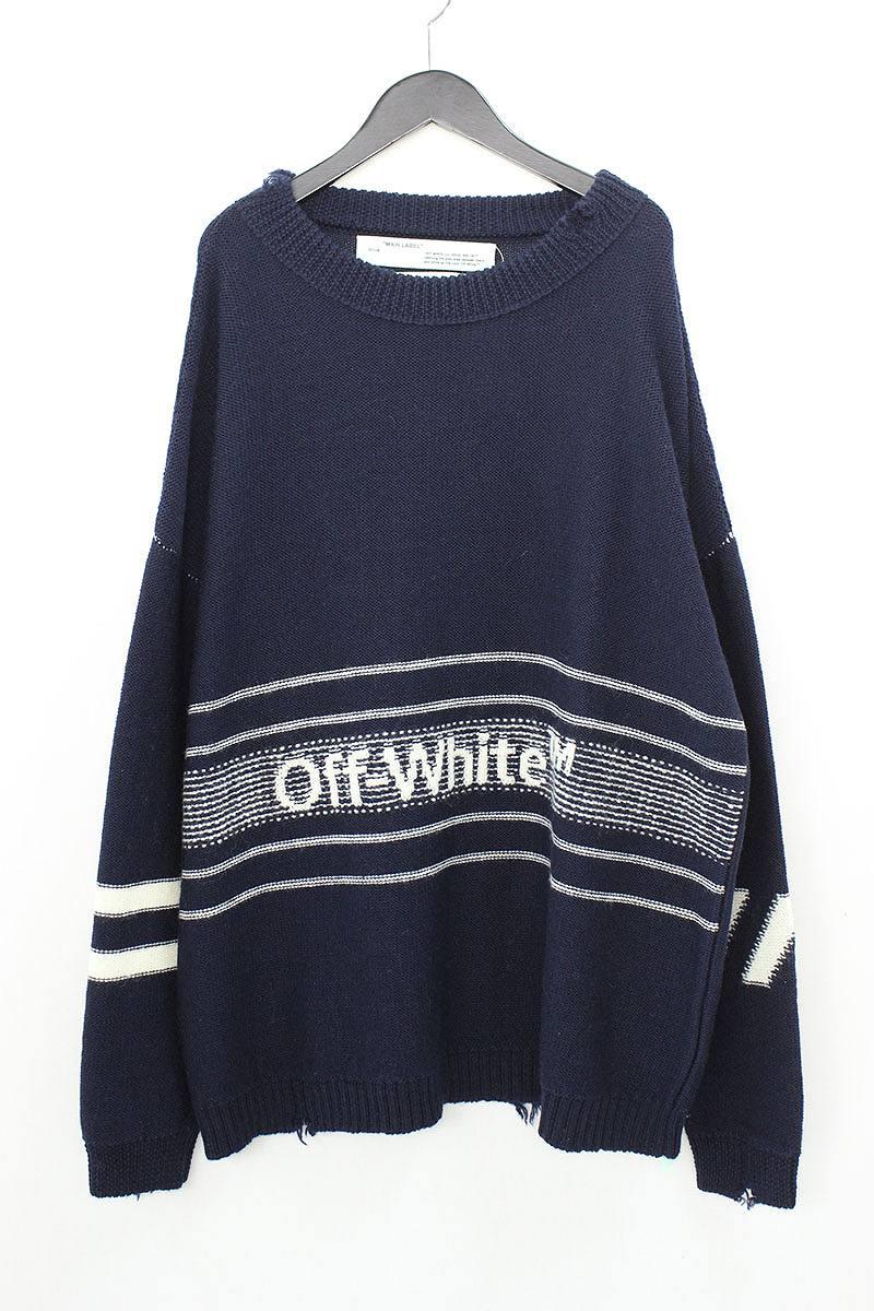 オフホワイト/OFF-WHITE 【18AW】【OW SWATER】ロゴ刺繍オーバーサイズニットセーター(S/ネイビー)【SJ02】【メンズ】【306081】【新古品】bb20#rinkan*N