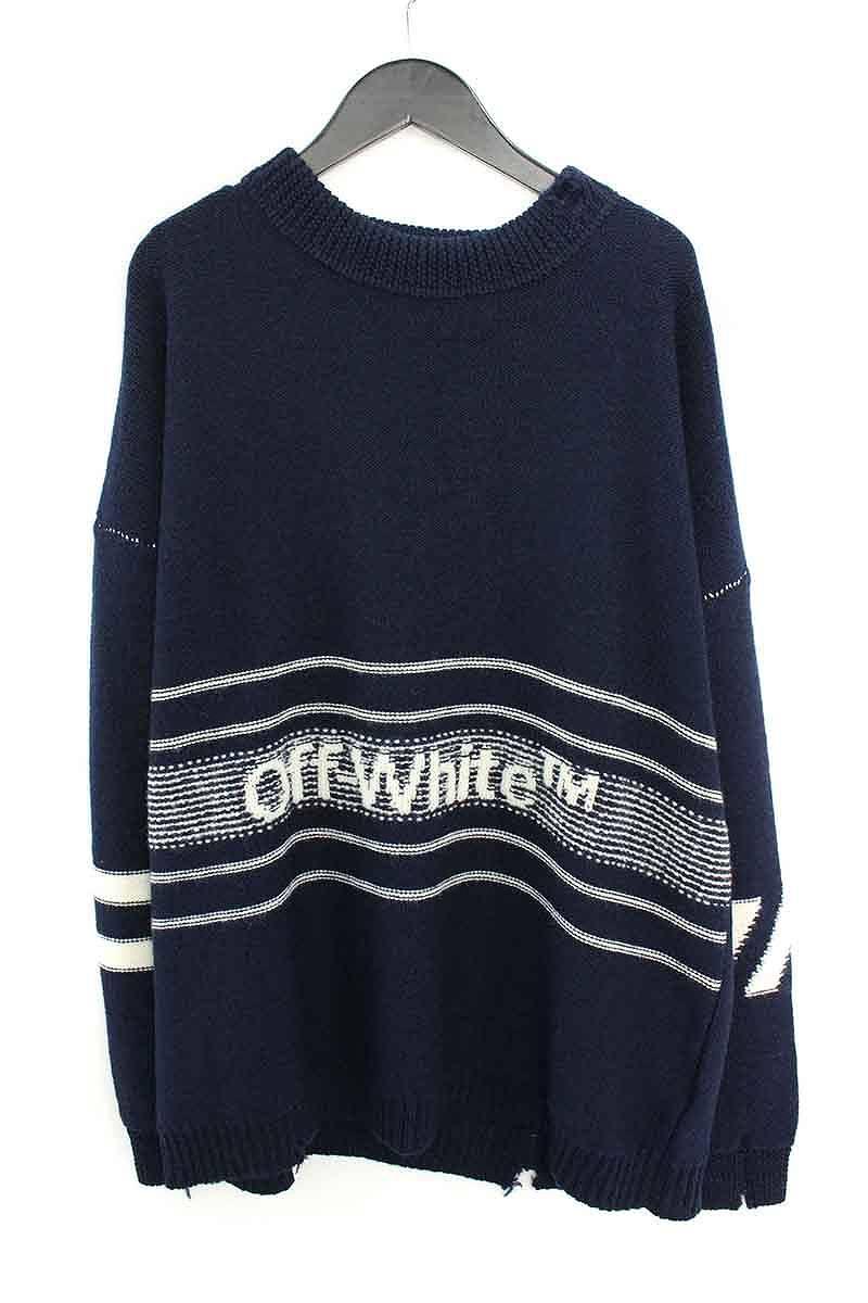 オフホワイト/OFF-WHITE 【18AW】【OW SWATER】ロゴ刺繍オーバーサイズニットセーター(XS/ネイビー)【NO05】【メンズ】【306081】【新古品】bb20#rinkan*N