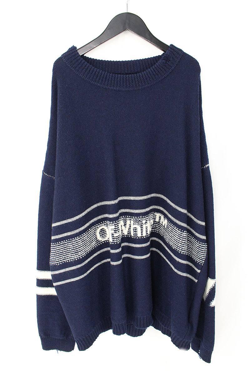 オフホワイト/OFF-WHITE 【18AW】【OW SWATER】ロゴ刺繍オーバーサイズニットセーター(XL/ネイビー)【OM10】【メンズ】【306081】【新古品】bb20#rinkan*N