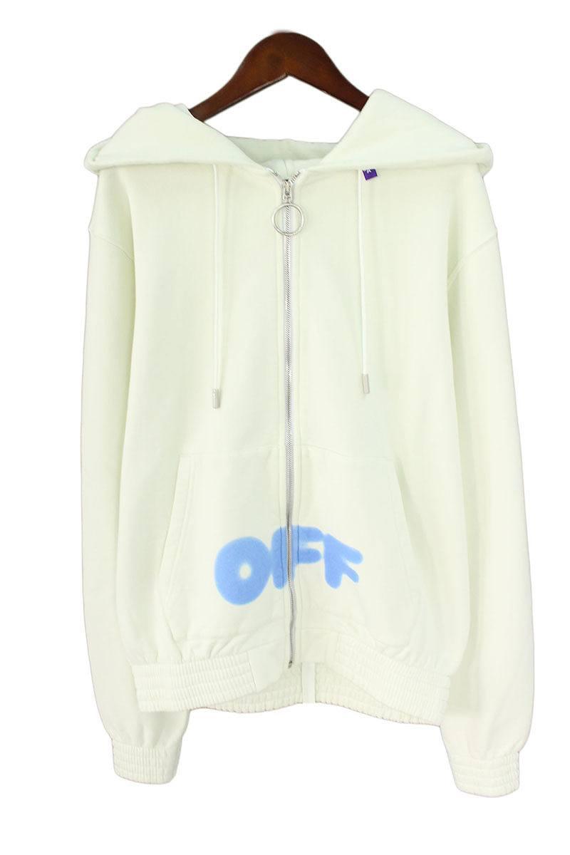 オフホワイト/OFF-WHITE 【18AW】【BLURRED OFF ZIPPED HOODIE】ロゴプリントジップアップパーカー(XL/ホワイト×ブルー)【OM10】【メンズ】【306081】【新古品】bb20#rinkan*N