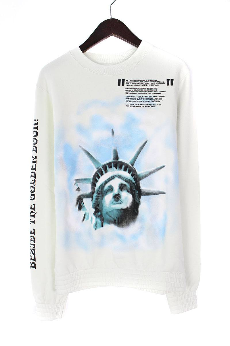 オフホワイト/OFF-WHITE 【18AW】【LIBERTY CREWNECK】リバティープリントスウェットカットソー(L/オフホワイト)【OM10】【メンズ】【306081】【新古品】bb20#rinkan*N