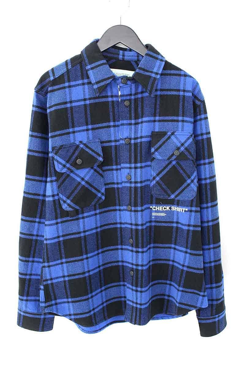 オフホワイト/OFF-WHITE 【18AW】【QUOTE FLANNEL SHIRT】オーバーサイズフランネルチェックシャツ(M/ブルー×ブラック)【HJ12】【メンズ】【416081】【新古品】bb20#rinkan*N