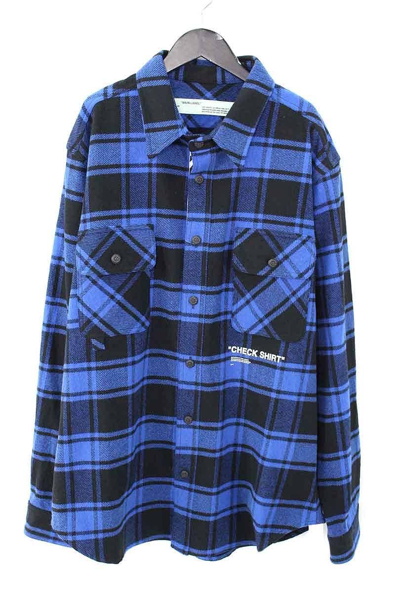 オフホワイト/OFF-WHITE 【18AW】【QUOTE FLANNEL SHIRT】オーバーサイズフランネルチェックシャツ(XL/ブルー×ブラック)【HJ12】【メンズ】【416081】【新古品】bb20#rinkan*N