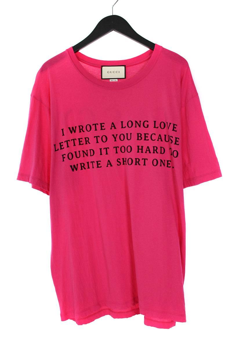 グッチ/GUCCI 【18SS】【493117 X3186】英字プリントTシャツ(XL/ピンク)【SB01】【メンズ】【106081】【中古】bb131#rinkan*B