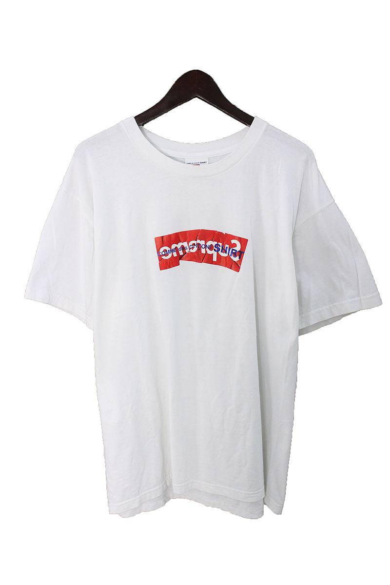 シュプリーム/SUPREME ×コムデギャルソンシャツ/COMME des GARCONS SHIRT 【17SS】【Box Logo Tee】ペーパーアートボックスロゴTシャツ(XL/ホワイト×レッド)【OS06】【メンズ】【606081】【中古】bb177#rinkan*B