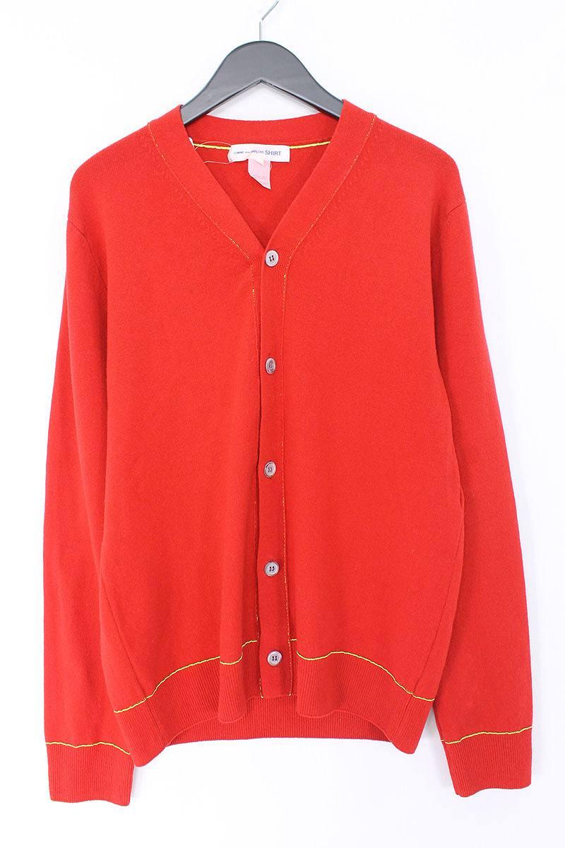 コムデギャルソンシャツ/COMME des GARCONS SHIRT ステッチデザインカーディガン(L/レッド×イエロー)【BS99】【メンズ】【706081】【中古】bb14#rinkan*B