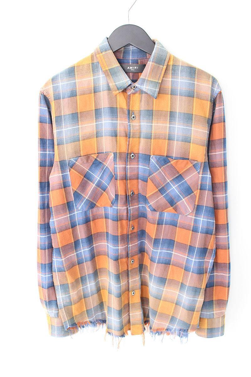 アミリ/AMIRI 【18SS】【Faded Plaid Shirt】チェック長袖シャツ(S/オレンジ×ブルー調)【OM10】【メンズ】【506081】【中古】bb76#rinkan*B