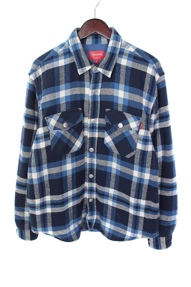 シュプリーム/SUPREME 【17AW】【Quilted Arc Logo Flannel Shirt】アーチロゴキルティング長袖シャツ(M/ブルー調)【SB01】【メンズ】【506081】【中古】bb212#rinkan*B