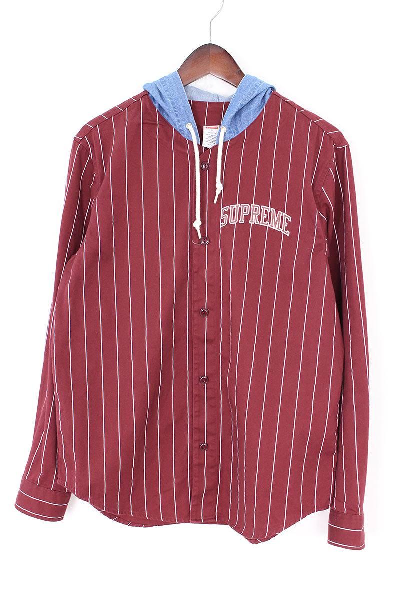 シュプリーム/SUPREME 【14AW】【Denim Hooded Baseball Shirt】ストライプ柄ベースボール長袖シャツ(S/ボルドー×ライトブルー)【OM10】【メンズ】【706081】【中古】bb147#rinkan*B
