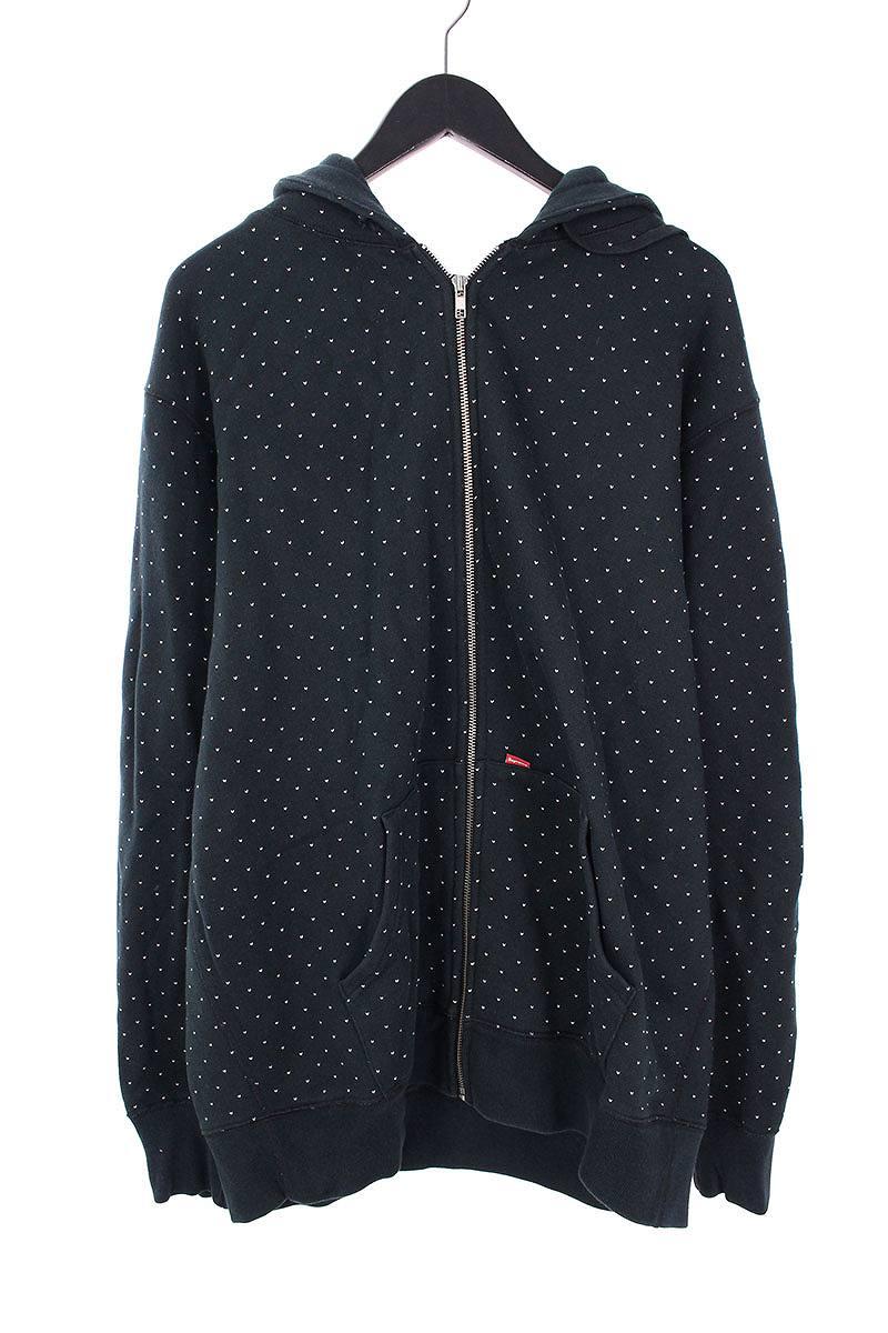 シュプリーム/SUPREME 【08AW】【Dobby Zip Hoodie】ハート刺繍ジップアップパーカー(XL/ネイビー)【OM10】【メンズ】【706081】【中古】bb51#rinkan*B