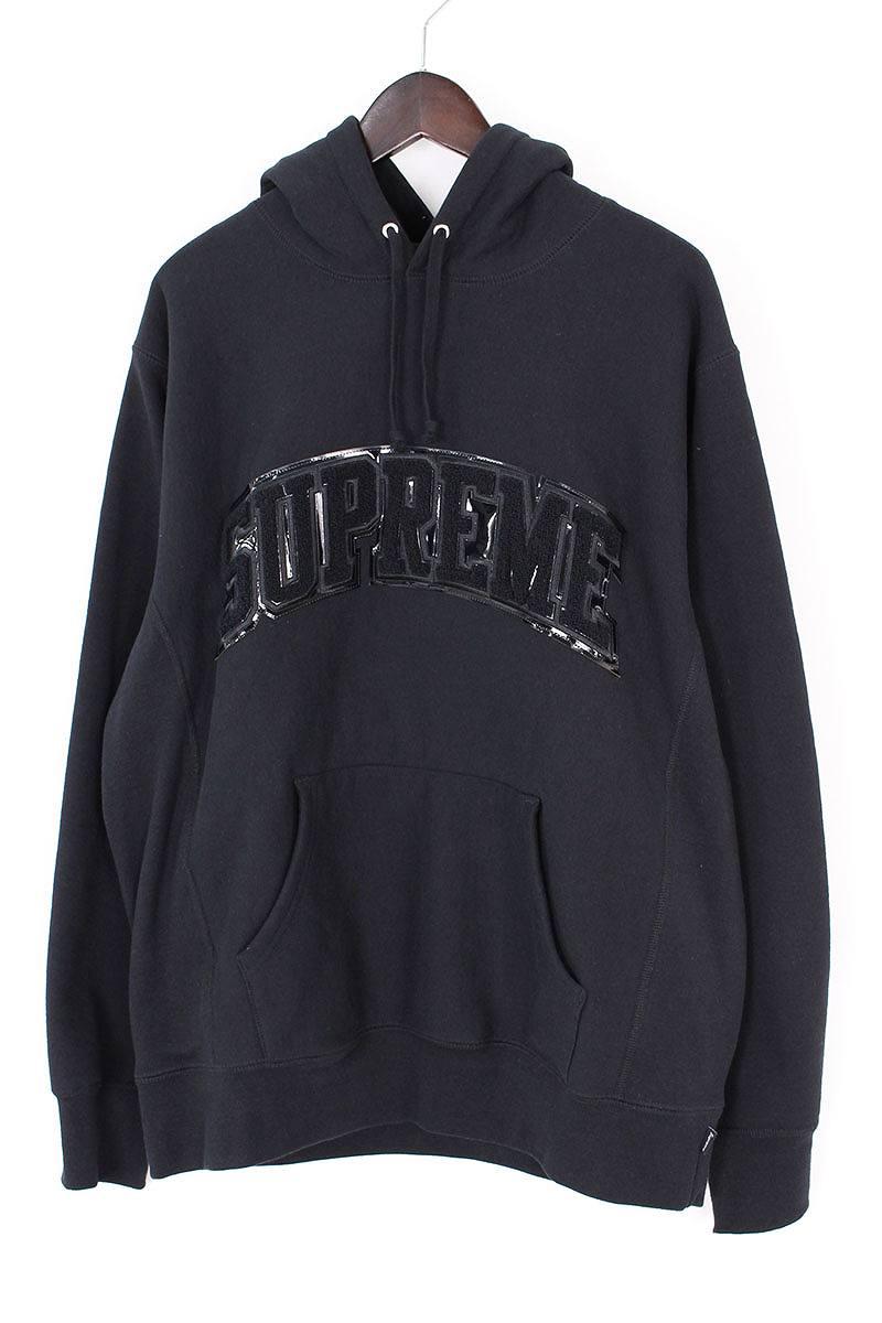 シュプリーム/SUPREME 【17AW】【Patent Arc Logo Hooded Sweatshirt】パテントロゴプルオーバーパーカー(L/ブラック)【SB01】【メンズ】【606081】【中古】bb24#rinkan*B