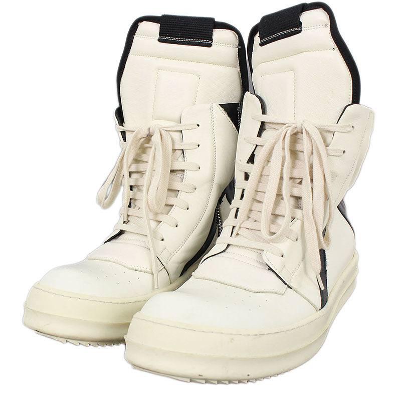 リックオウエンス/Rick Owens 【GEOBASKET/ジオバスケット】サイドジップハイカットレザースニーカー(41/ホワイト×ブラック)【SB01】【メンズ】【小物】【506081】【中古】bb212#rinkan*B