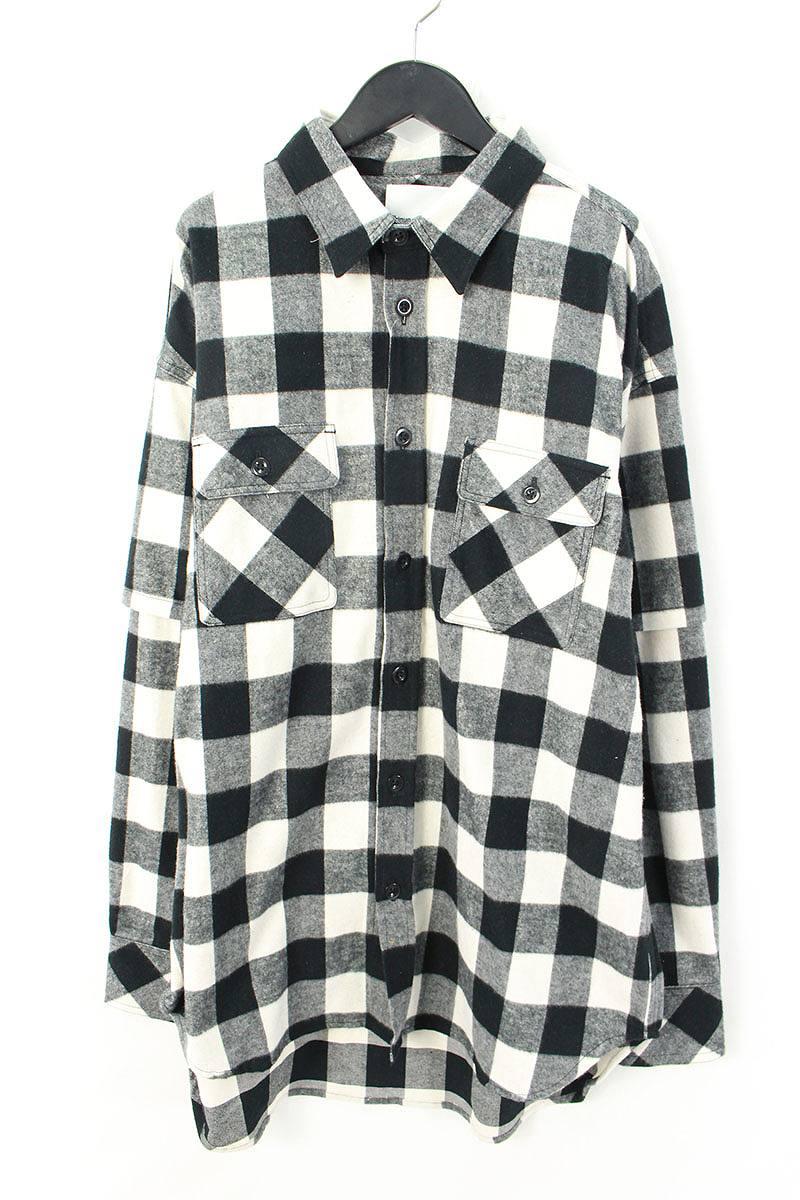 シンヤヤマグチ/Shinya yamaguchi 【18SS】【SH03/Layered Shirtt】袖レイヤードチェック総柄長袖シャツ(M/ブラック×ホワイト×グレー)【BS99】【メンズ】【107081】【中古】bb94#rinkan*S