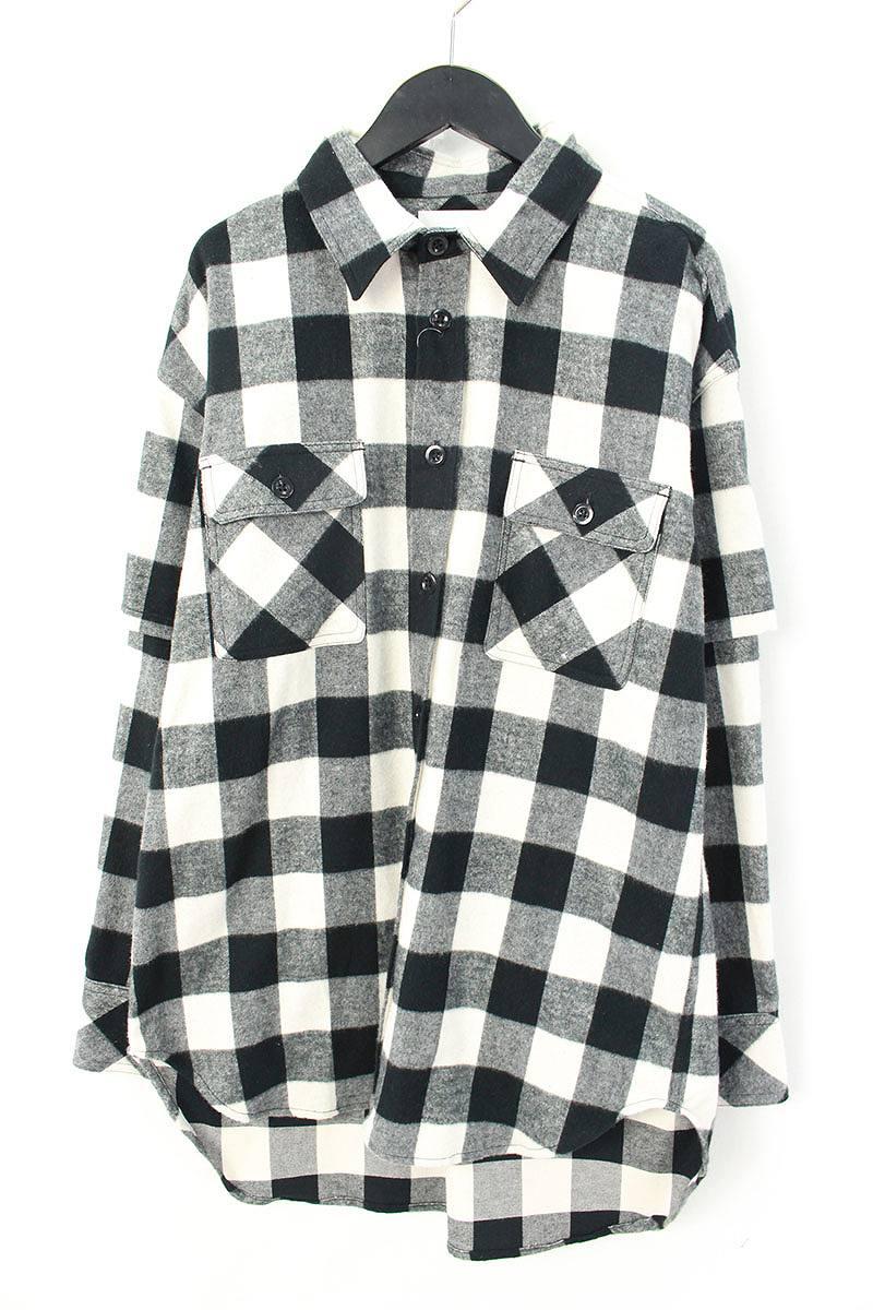シンヤヤマグチ/Shinya yamaguchi 【18SS】【SH03/Layered Shirtt】袖レイヤードチェック総柄長袖シャツ(S/ブラック×ホワイト×グレー)【BS99】【メンズ】【107081】【中古】bb94#rinkan*S