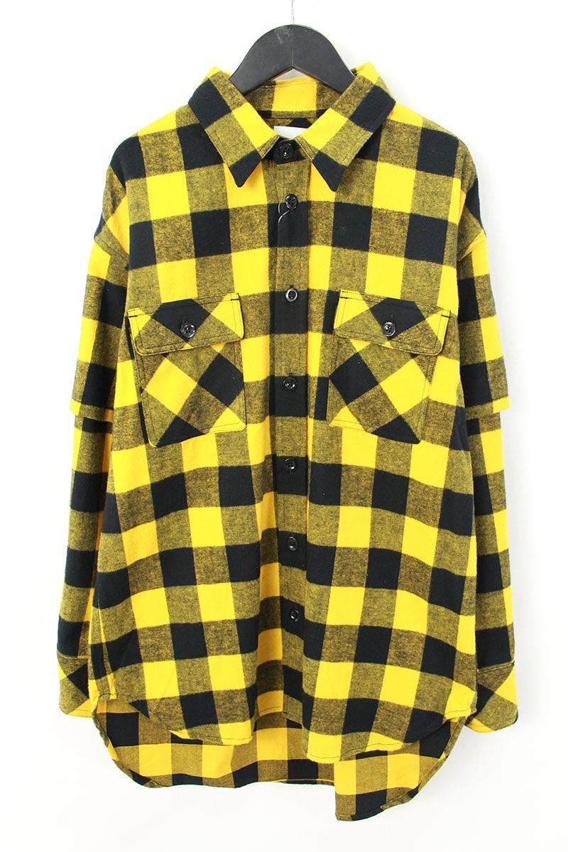 シンヤヤマグチ/Shinya yamaguchi 【18SS】【SH03/Layered Shirtt】袖レイヤードチェック総柄長袖シャツ(S/イエロー×ブラック)【BS99】【メンズ】【107081】【中古】bb94#rinkan*S