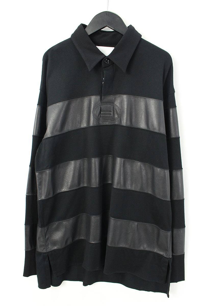 シンヤヤマグチ/Shinya yamaguchi 【18SS】【CS19/Rugdy Shirt】シンセティックレザー切り替えポロカットソー(S/ブラック)【BS99】【メンズ】【107081】【中古】bb94#rinkan*S