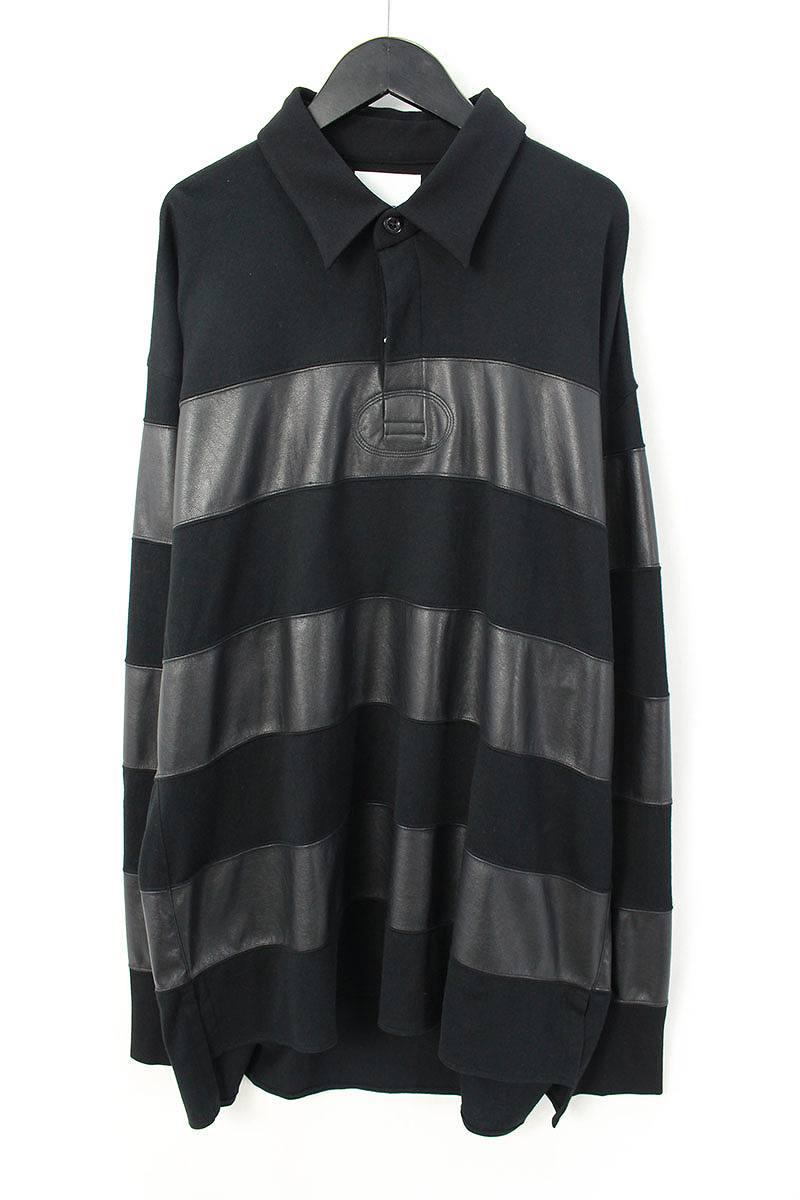 シンヤヤマグチ/Shinya yamaguchi 【18SS】【CS19/Rugdy Shirt】シンセティックレザー切り替えポロカットソー(M/ブラック)【BS99】【メンズ】【107081】【中古】bb94#rinkan*S