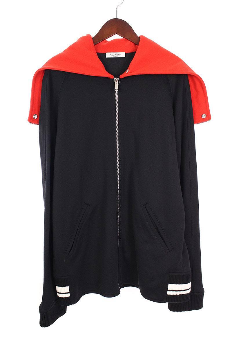 ヴァレンティノ/VALENTINO 【 Always Zip Hooded Sweatshirt PV3MF08Z4VU】バイカラージップアップフードロゴパーカー(L/ブラック×レッド)【SB01】【メンズ】【706081】【中古】bb154#rinkan*A