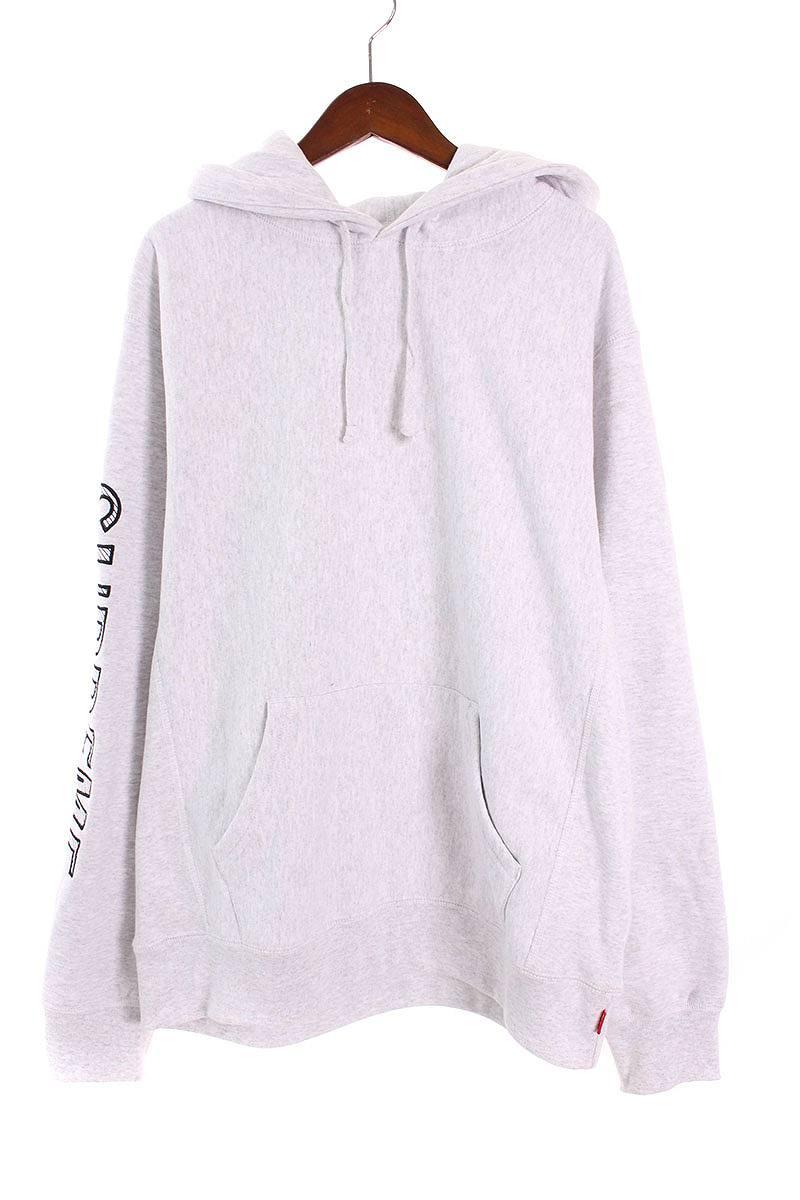シュプリーム/SUPREME 【18SS】【Sleeve Embroidery Hooded Sweatshirts】袖ロゴパーカー(M/ライトグレー)【SB01】【メンズ】【706081】【中古】bb157#rinkan*S