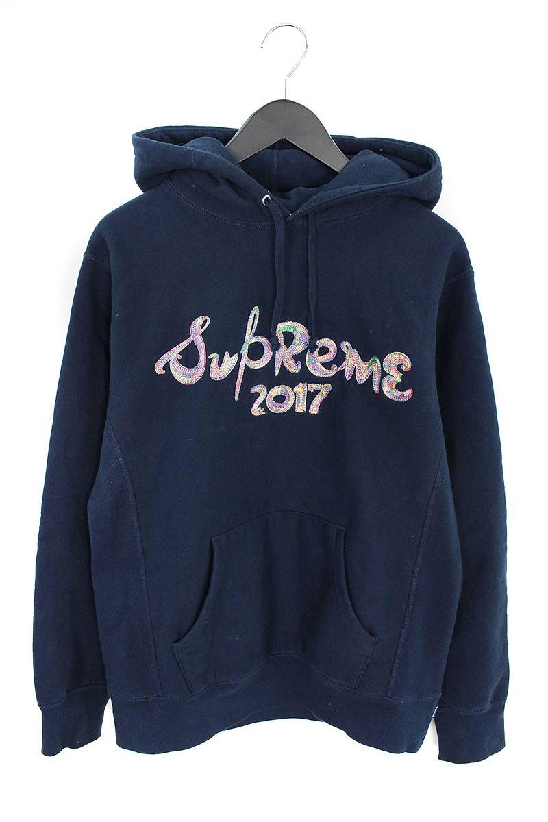 シュプリーム/SUPREME 【17AW】【Brush Logo Hooded Sweatshirts】ブラッシュロゴプルオーバーパーカー(M/ネイビー)【SJ02】【メンズ】【706081】【中古】bb202#rinkan*B