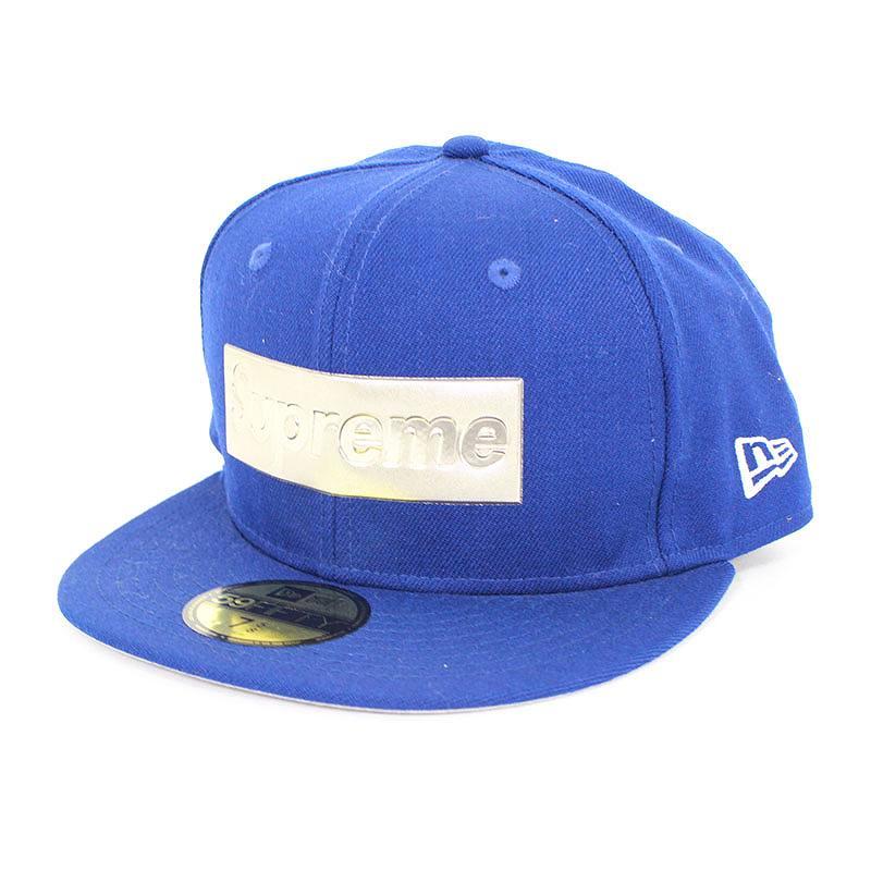シュプリーム/SUPREME ×ニューエラ/NewEra 【16SS】【Metallic Box Logo New Era Cap】メタリックロゴキャップ(7 5/8/ブルー)【SB01】【小物】【606081】【中古】bb14#rinkan*B